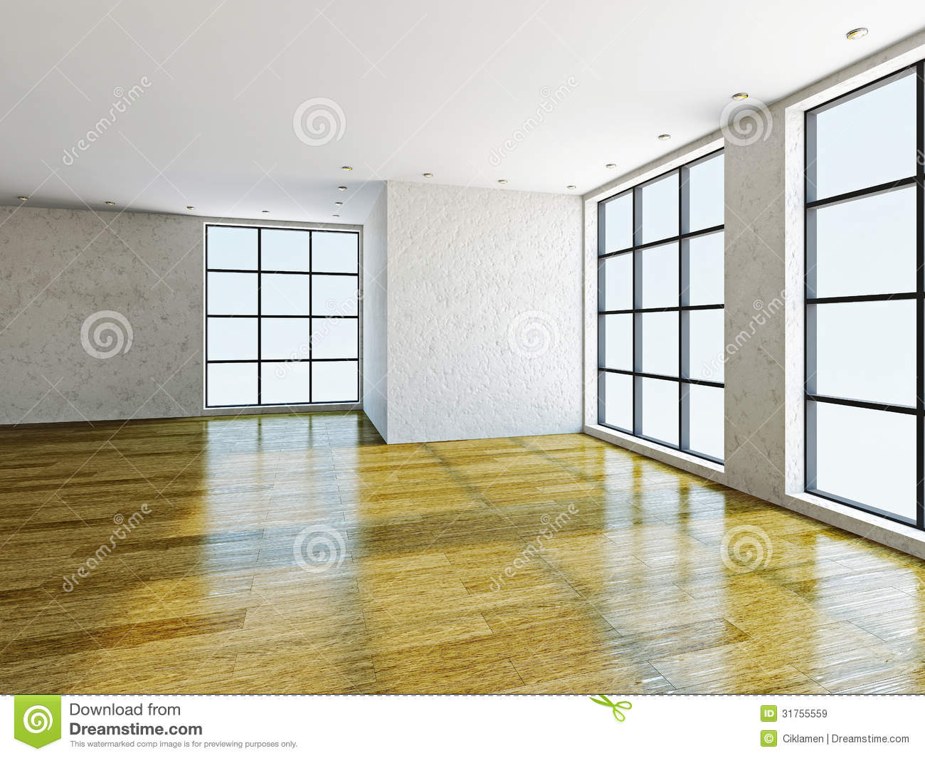Empty Room With Windows Royalty Free Stock Images - Image