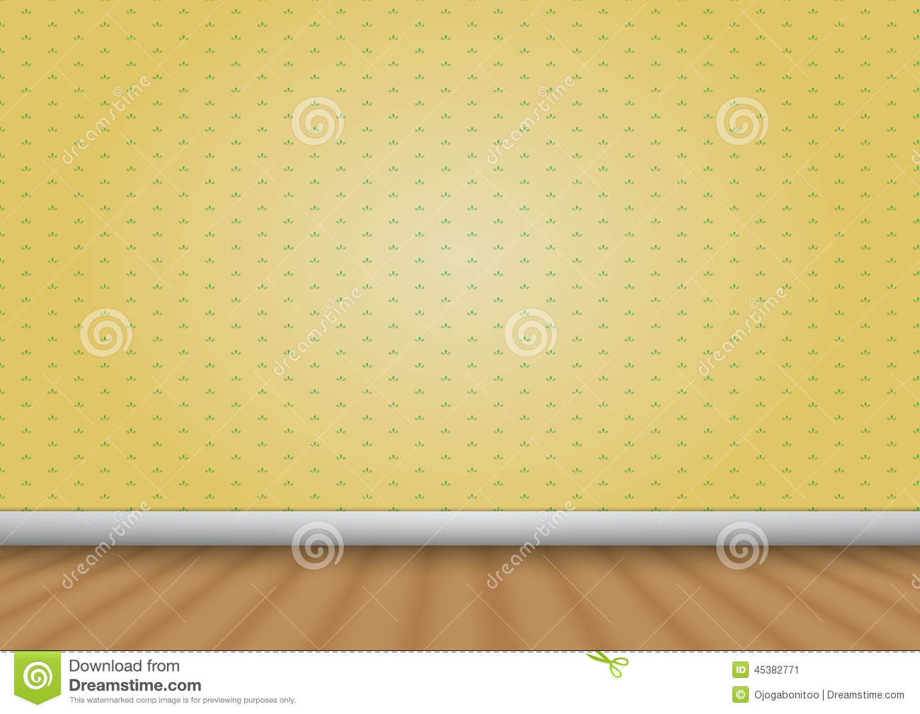 empty room with wood floor and pattern wall royaltyfree vector
