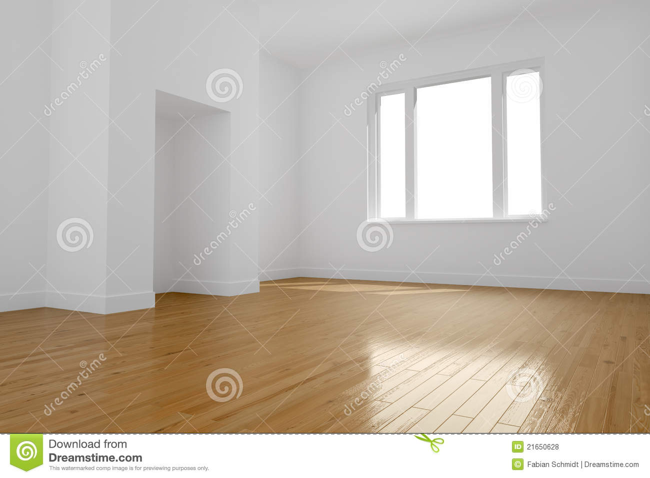 Empty Room With Wooden Floor Royalty Free Stock Photos