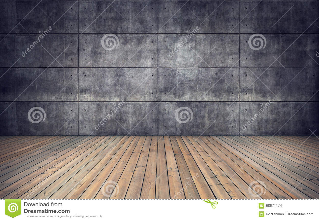 Empty Room With Wooden Floor And Concrete Tiles Wall Stock