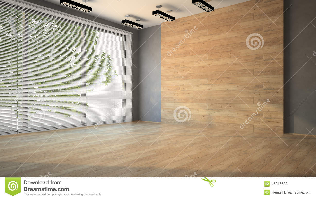 Empty Room With Wooden Wall Stock Photo Image 46015638