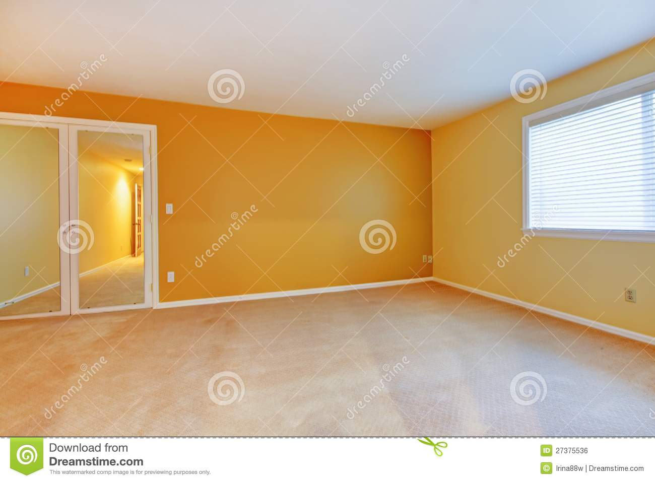 Empty Room With Yellow Golden Walls And Mirror Stock Photo Image 27375536