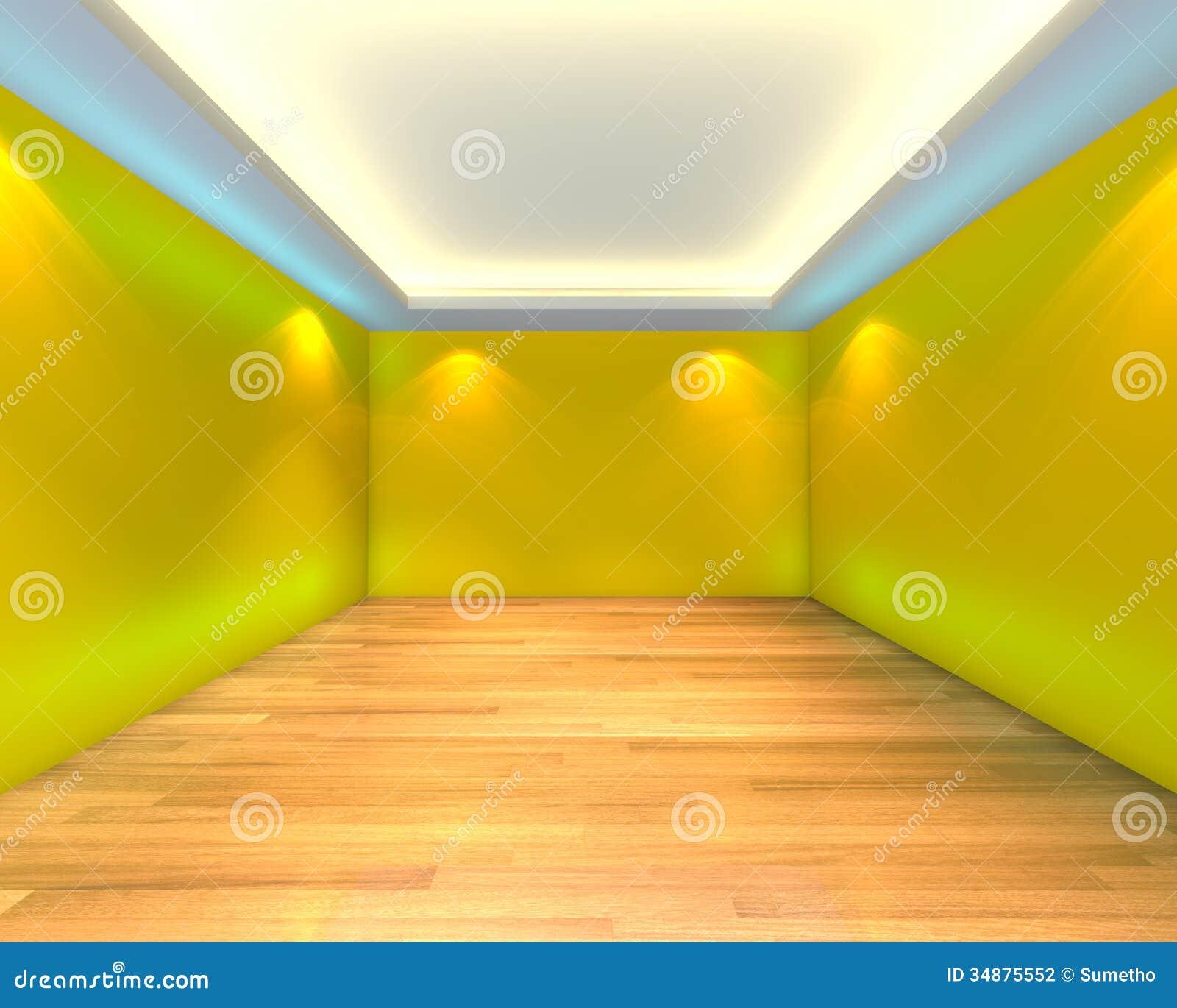 Empty room yellow wall stock illustration. Illustration of home ...
