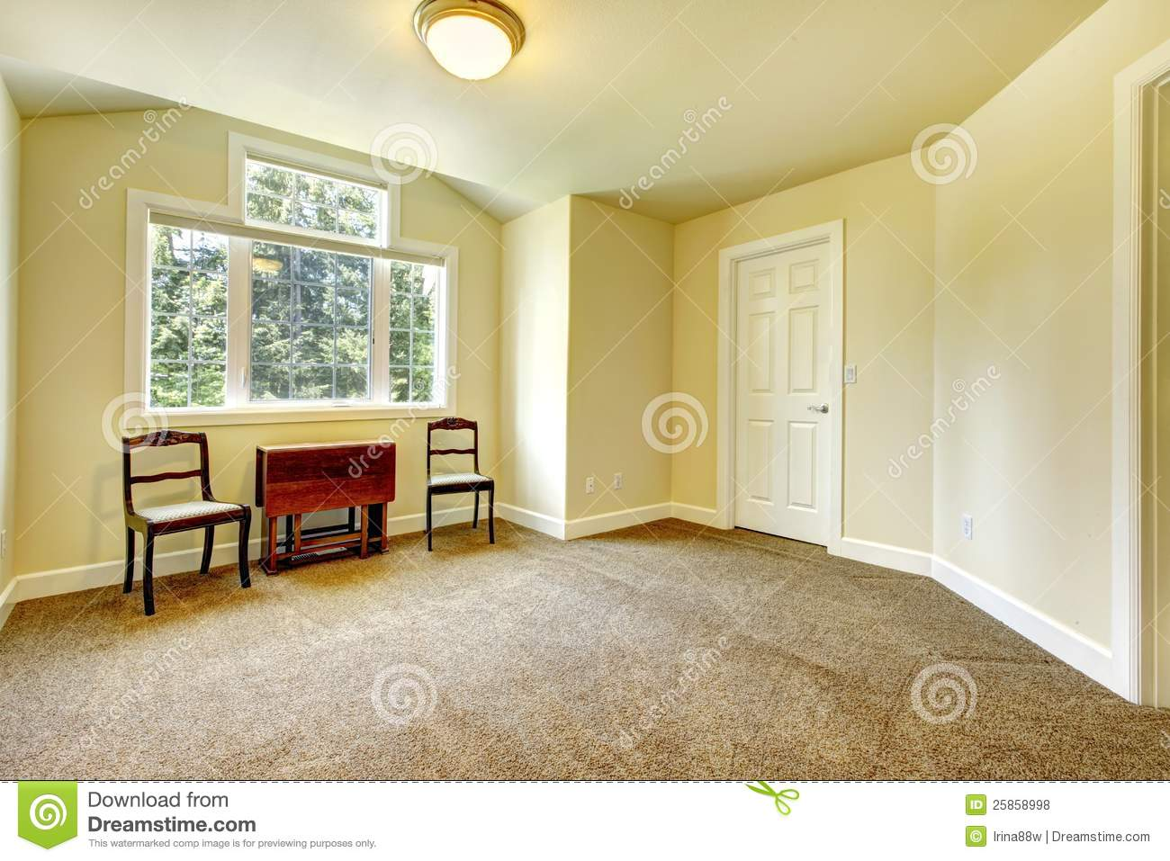 Empty Room With Yellow Walls And Brown Carpet. Stock Photo - Image ...