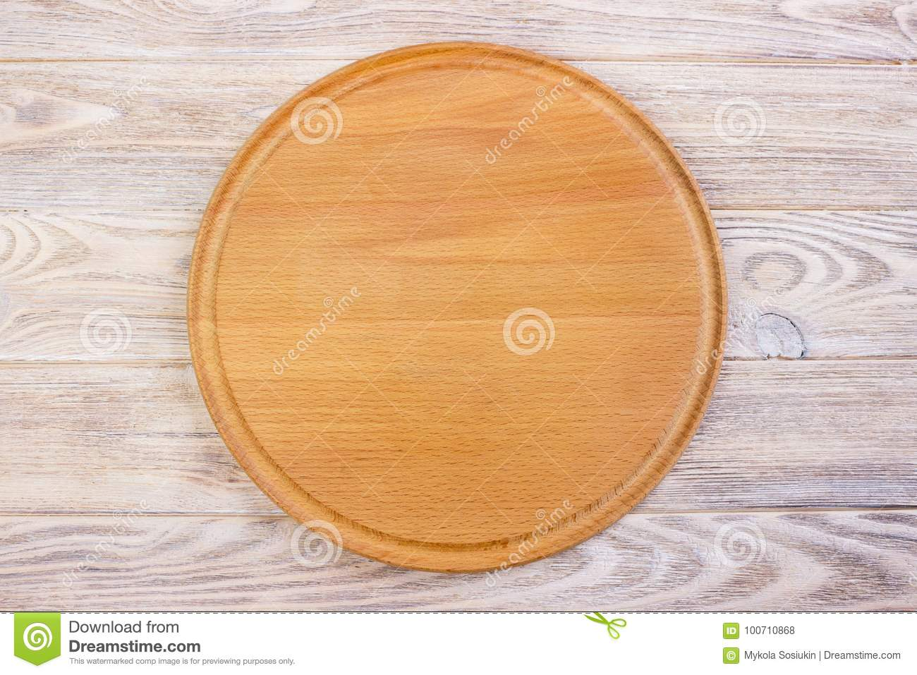 Empty Round Cutting Board On A Wooden Table Top View Stock