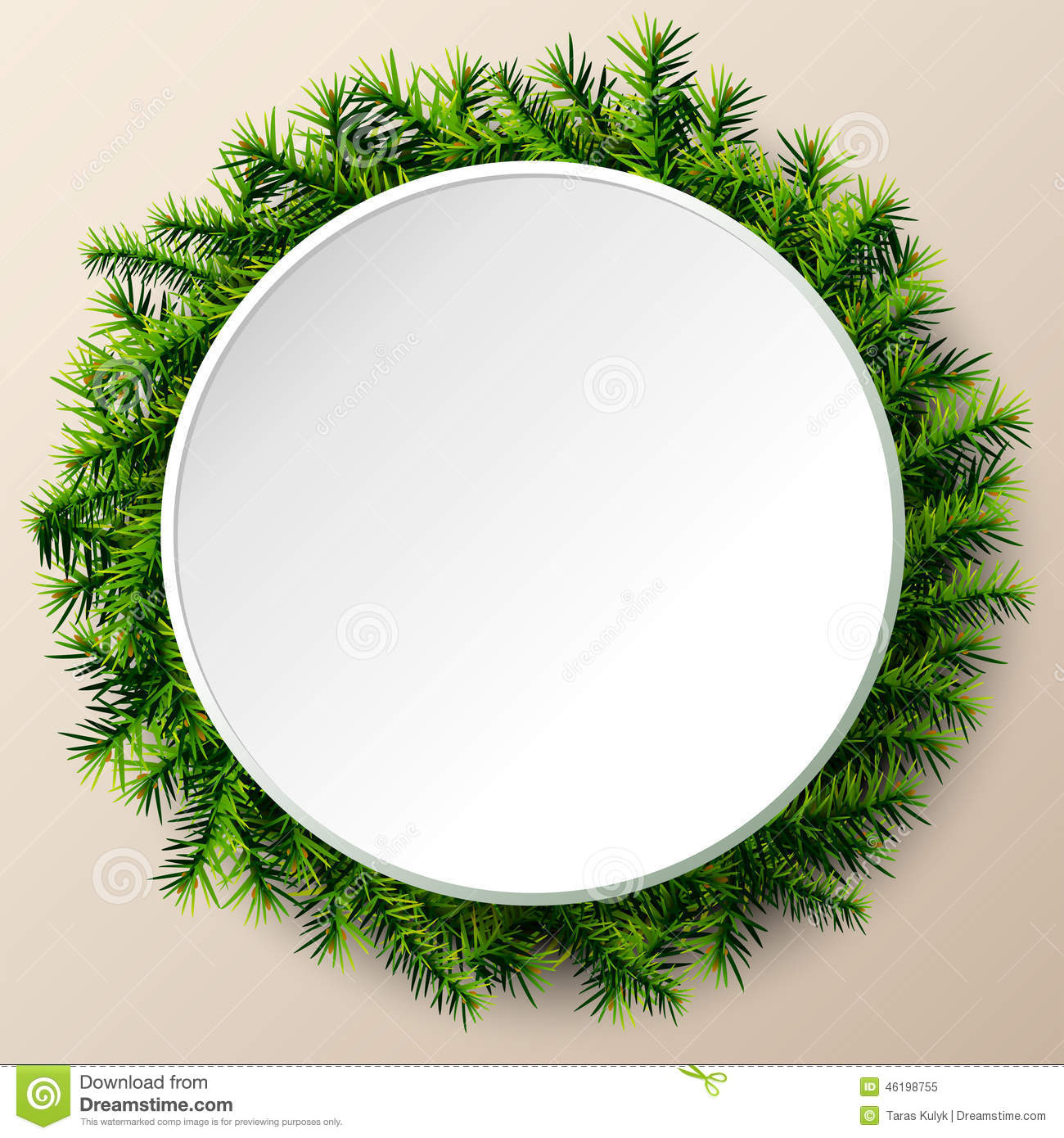 Empty round frame of christmas tree twigs stock vector for Year round christmas tree