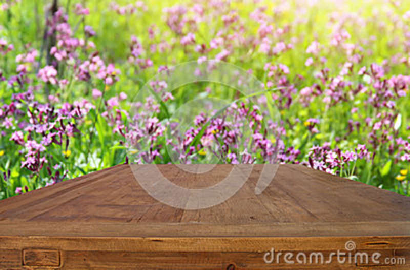 Empty rustic table in front of spring beautiful flowers background