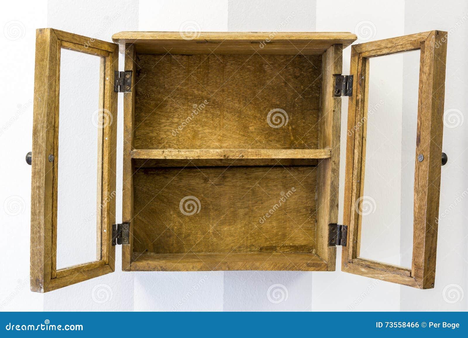 Empty Rustic Wall Mounted Display Cabinet Horizontal Stock Photo