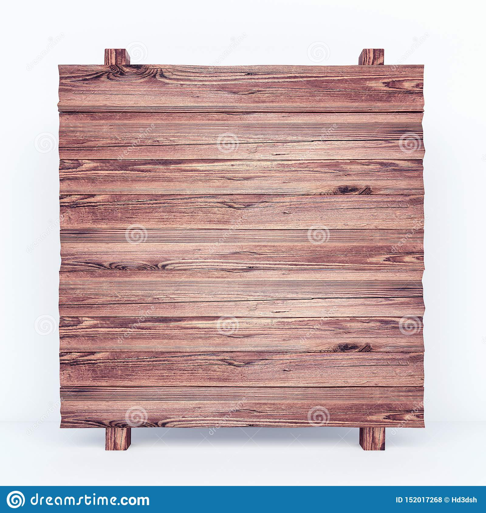 Empty rustic wooden board on white background