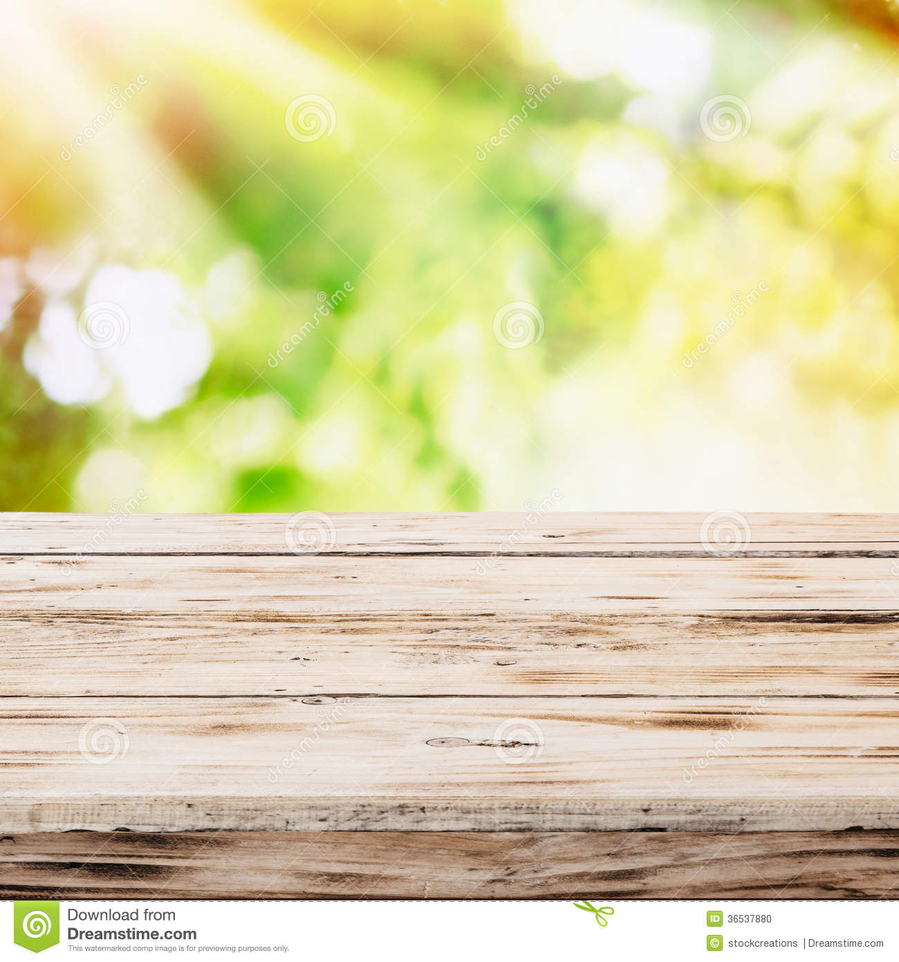 Wood Table Top On Blurred Beach Background Vintage Tone: Empty Rustic Wooden Table With Golden Sunlight Stock Photo