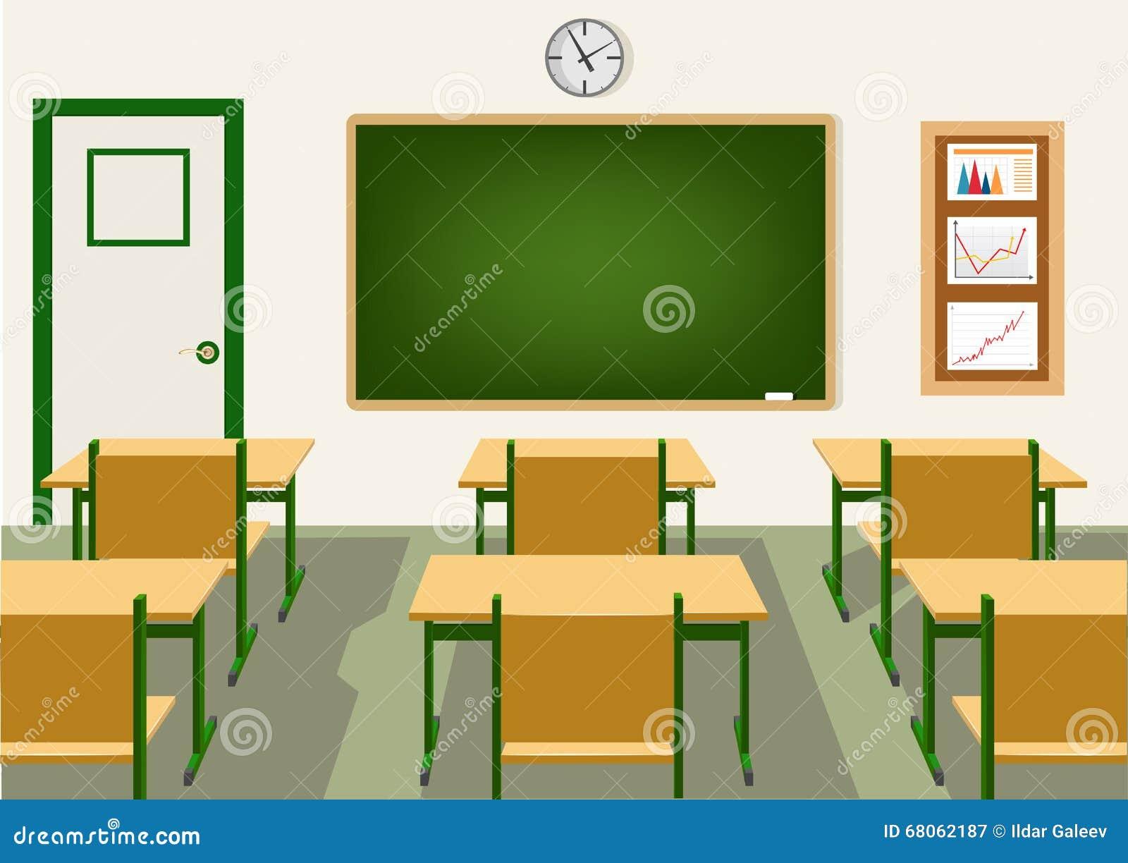 Modern Classroom Vector : Empty school classroom with blackboard stock vector