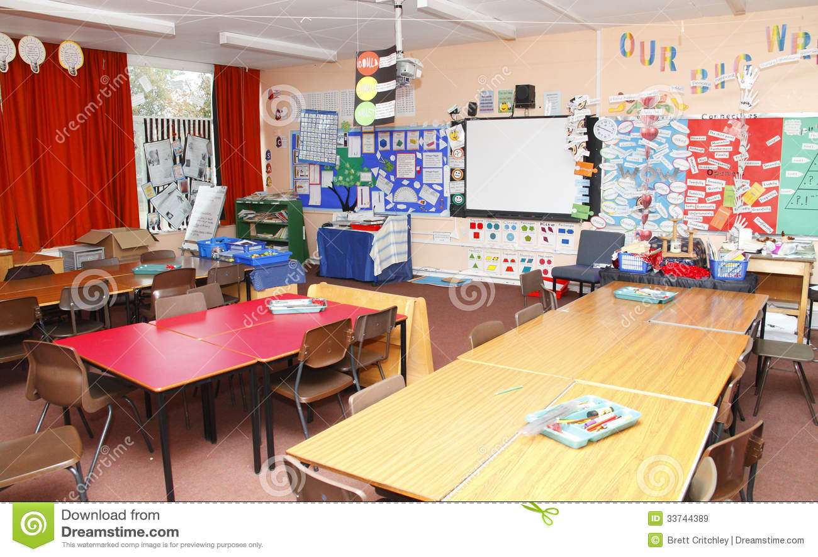 Modern Classroom Clipart ~ Empty school classroom stock image of teachers