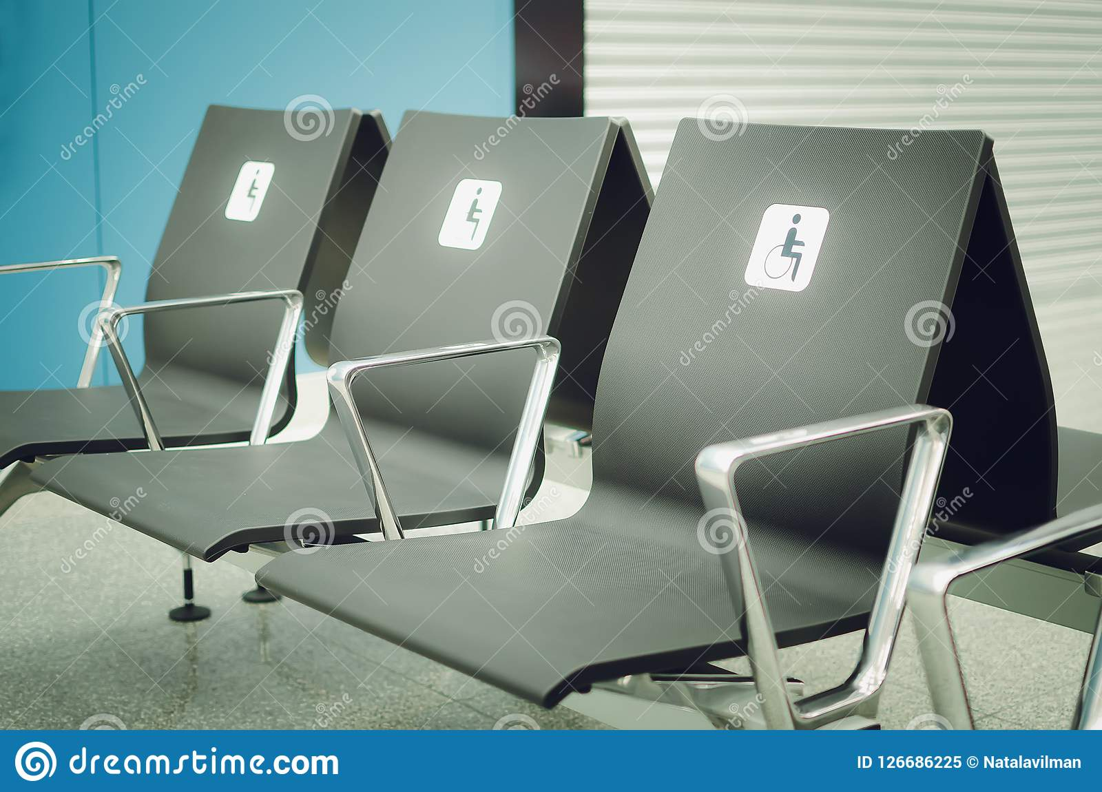 Empty Seats For Disabled People In The Waiting Room At The