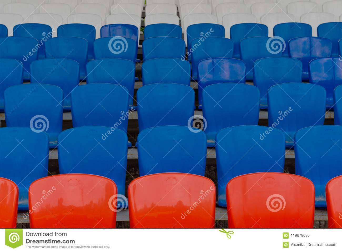 Empty seats for spectators at the stadium