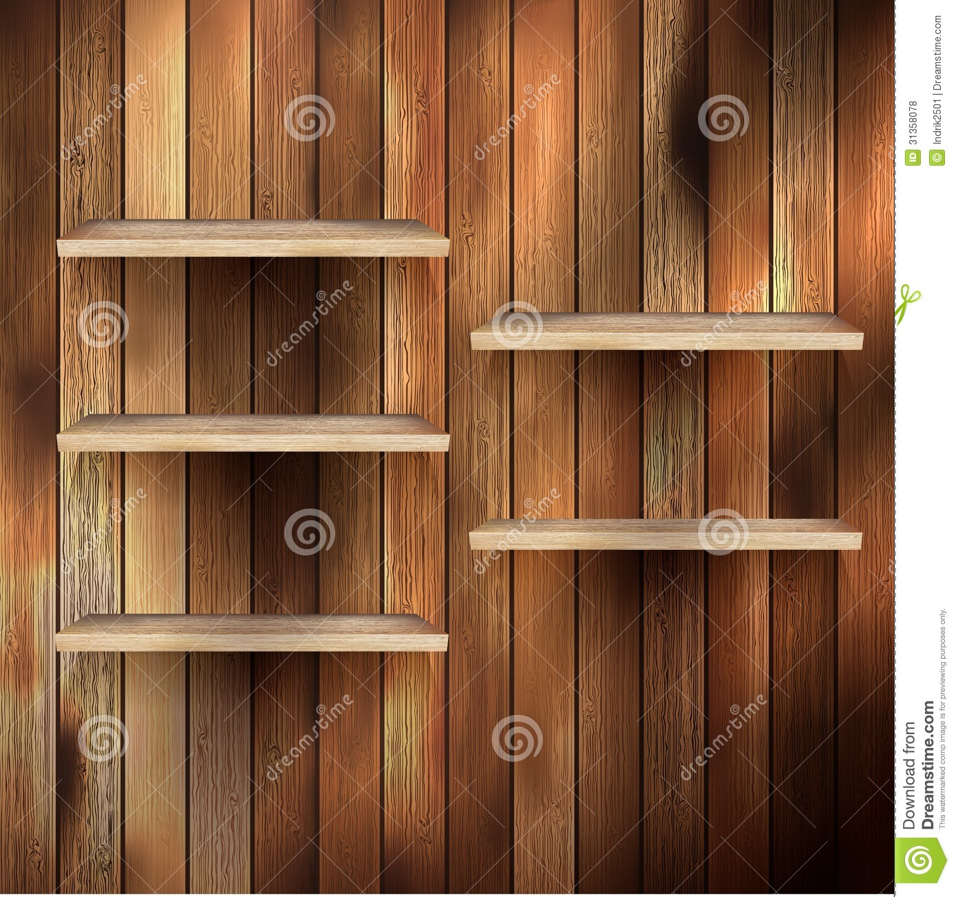 Interior wooden shelves free vector - Empty Shelf For Exhibit On Wood Background Eps 10 Royalty Free Stock Photos