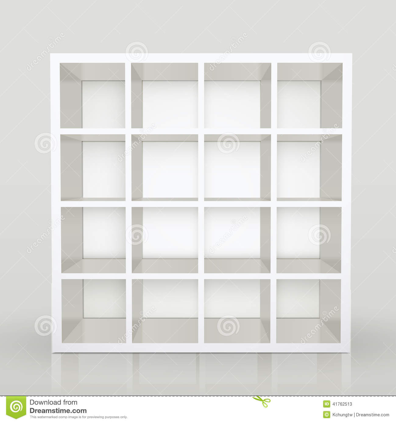 Empty Shelves Blank Bookcase Library Stock Vector Image