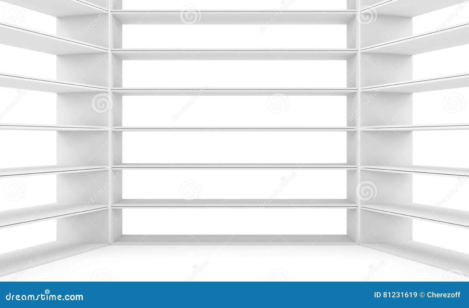 Empty Shelves Blank Bookcase Library Stock Illustration