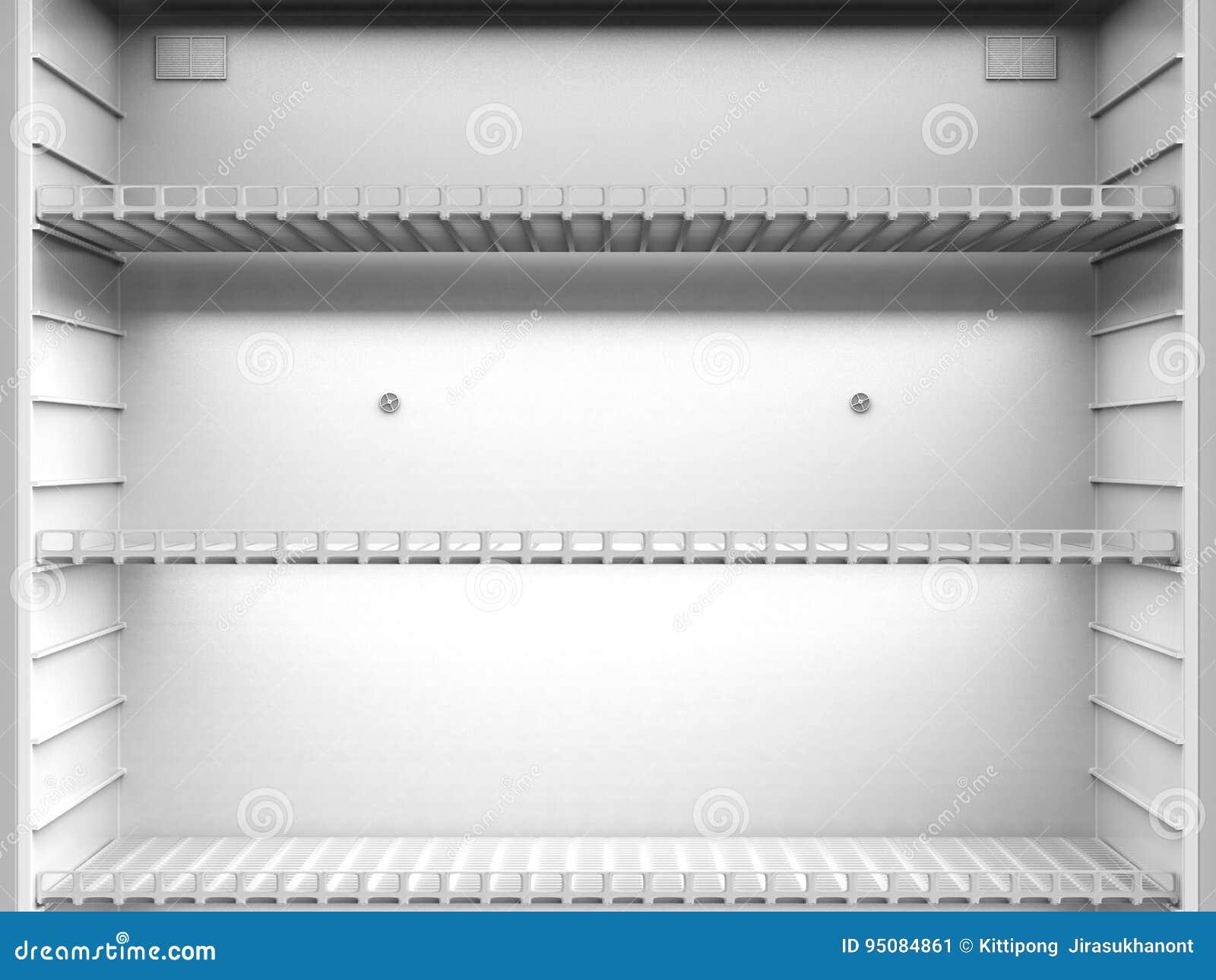 Empty shelves in fridge
