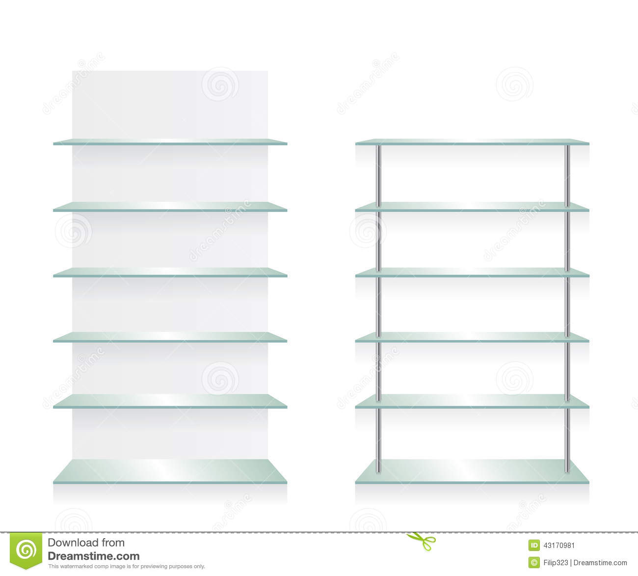Empty Shop Glass Shelves Stock Vector - Image: 43170981