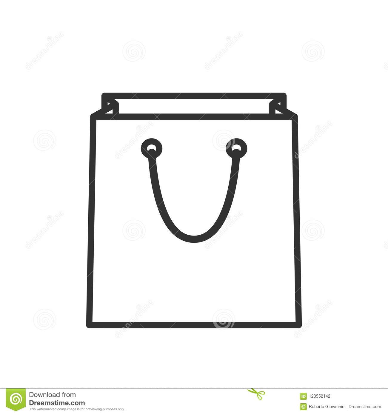 Empty Shopping Bag Outline Flat Icon