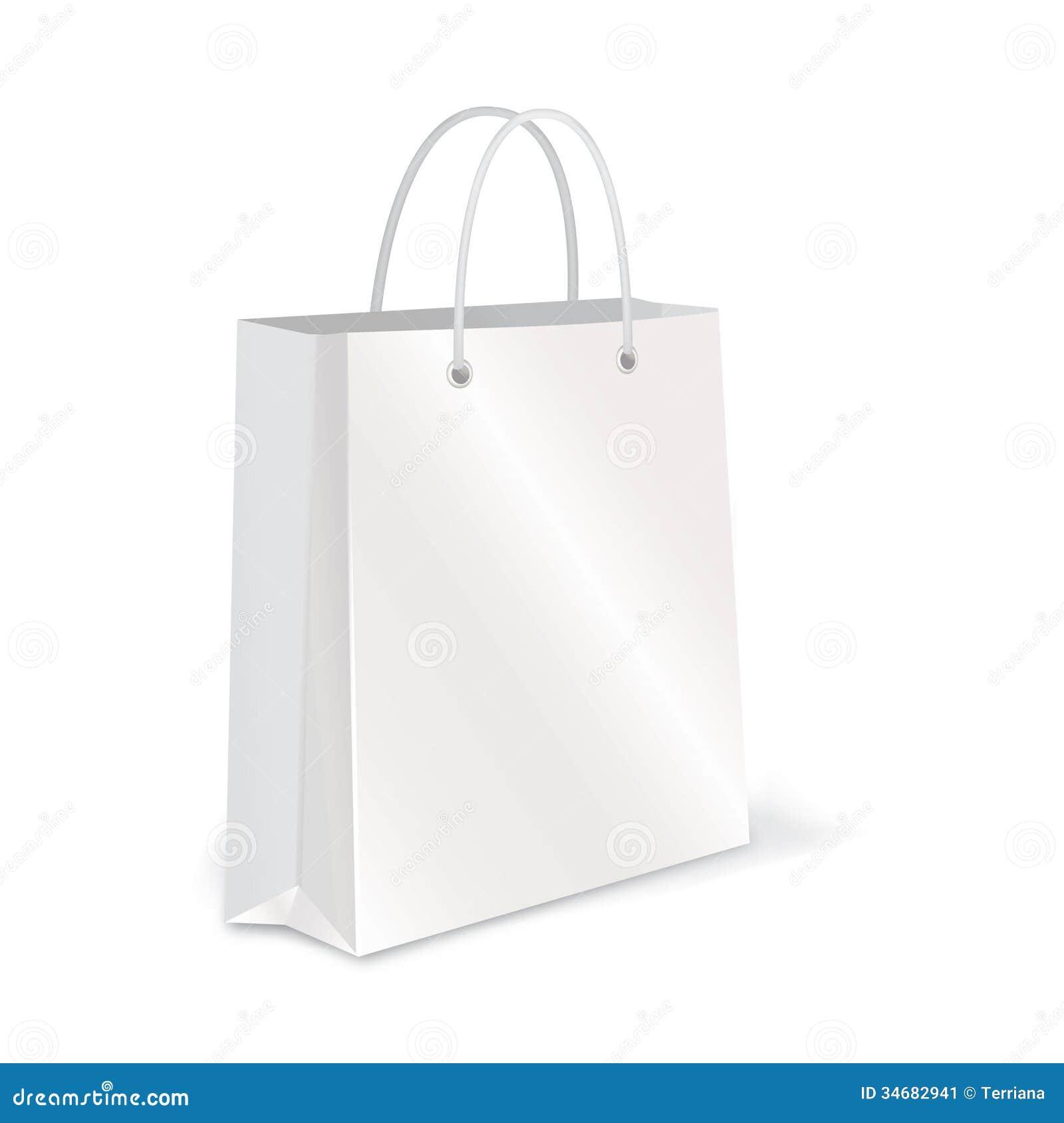 Empty Shopping Bag Set On White For Branding Stock Images - Image ...