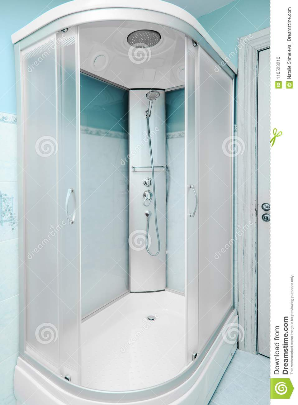 Empty shower cabin stock photo. Image of shower, clean - 110523210
