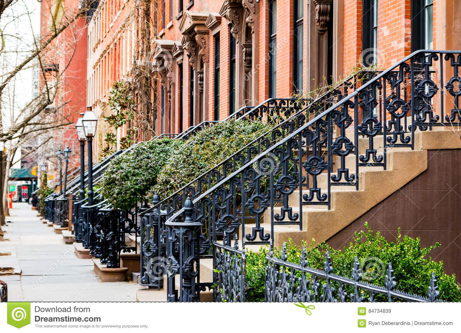 Empty sidewalk in greenwich village in new york city stock for Nyc greenwich village apartments