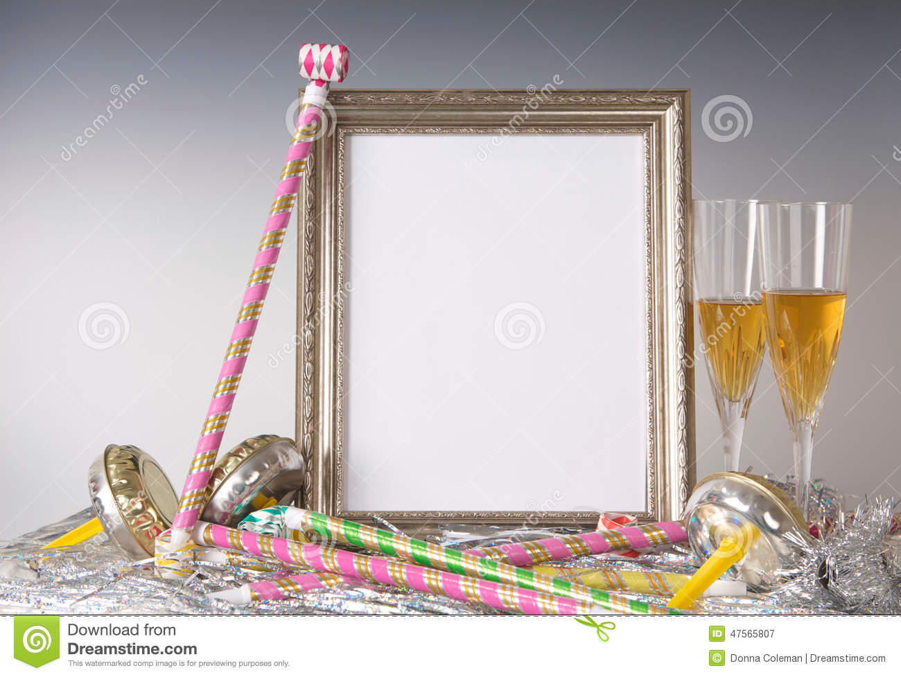 Empty Silver Frame Still Life For New Year\'s Eve With Champagne ...