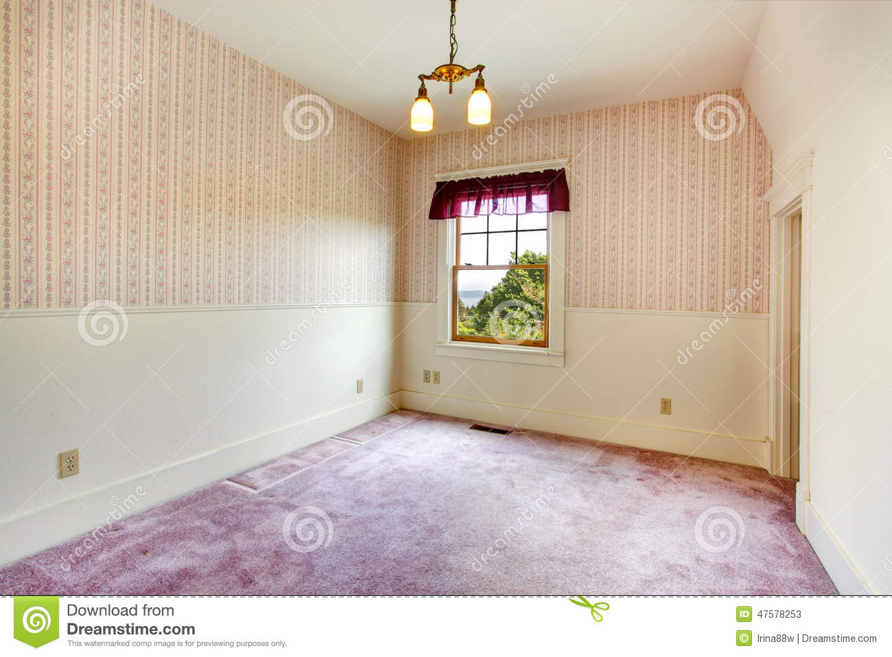 Empty Small Room Old House Creamy Walls Wallpaper Purple Carpet Floor Purple Color Curtains