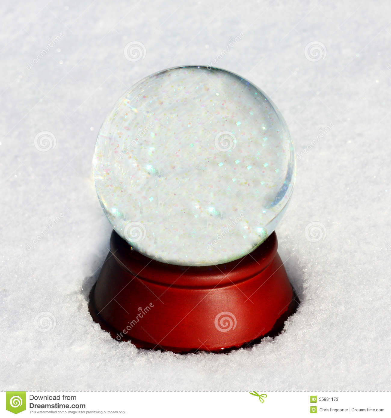 Empty Snow Globe outside in winter snow with room for text, or ...
