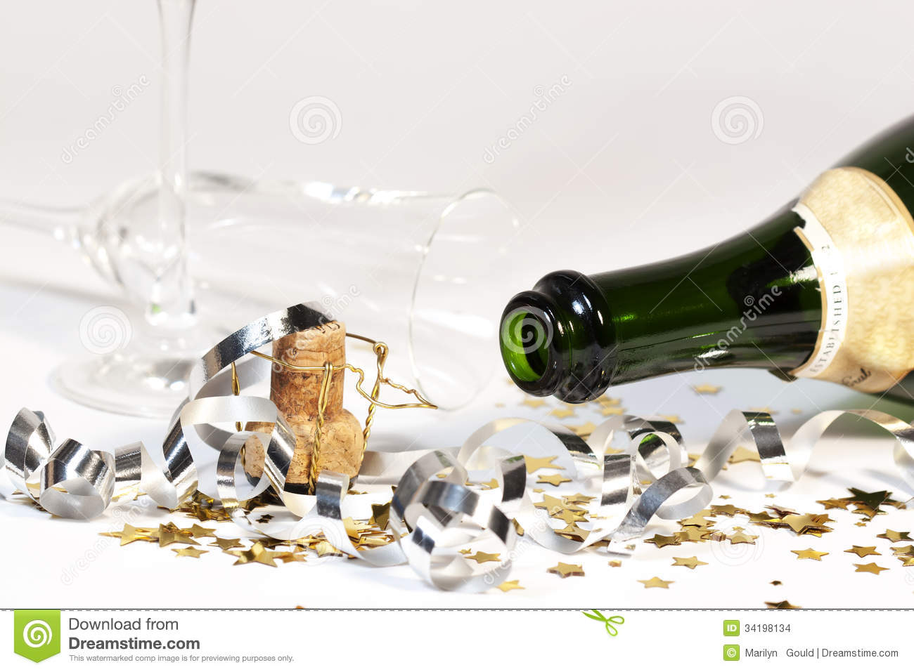 Empty Sparkling Wine Bottle Overturned Glass Stock ImagesImage