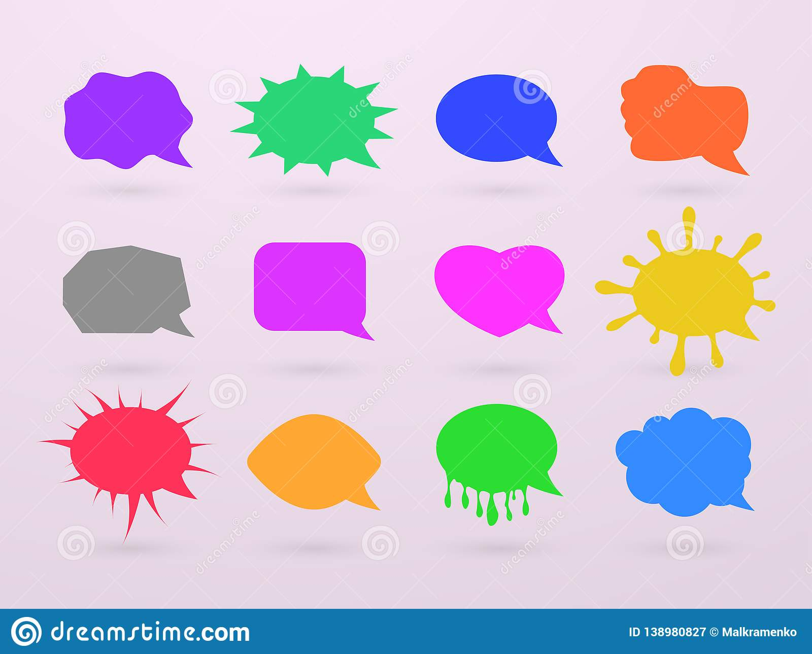 Empty speech bubbles, chat boxes of various forms for adding text and expressing feelings. Vector illustration.