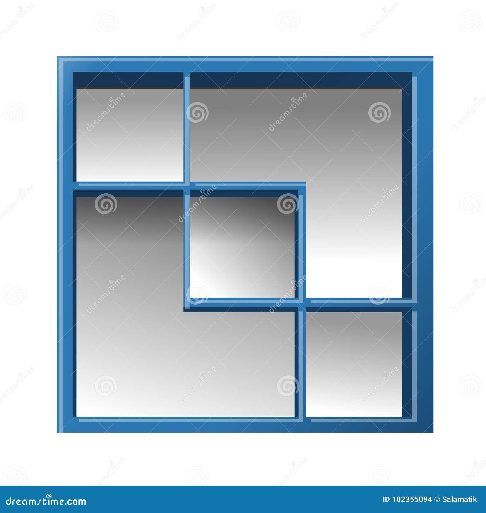 Empty Square Bookshelf Shelf For Books Blue Vector