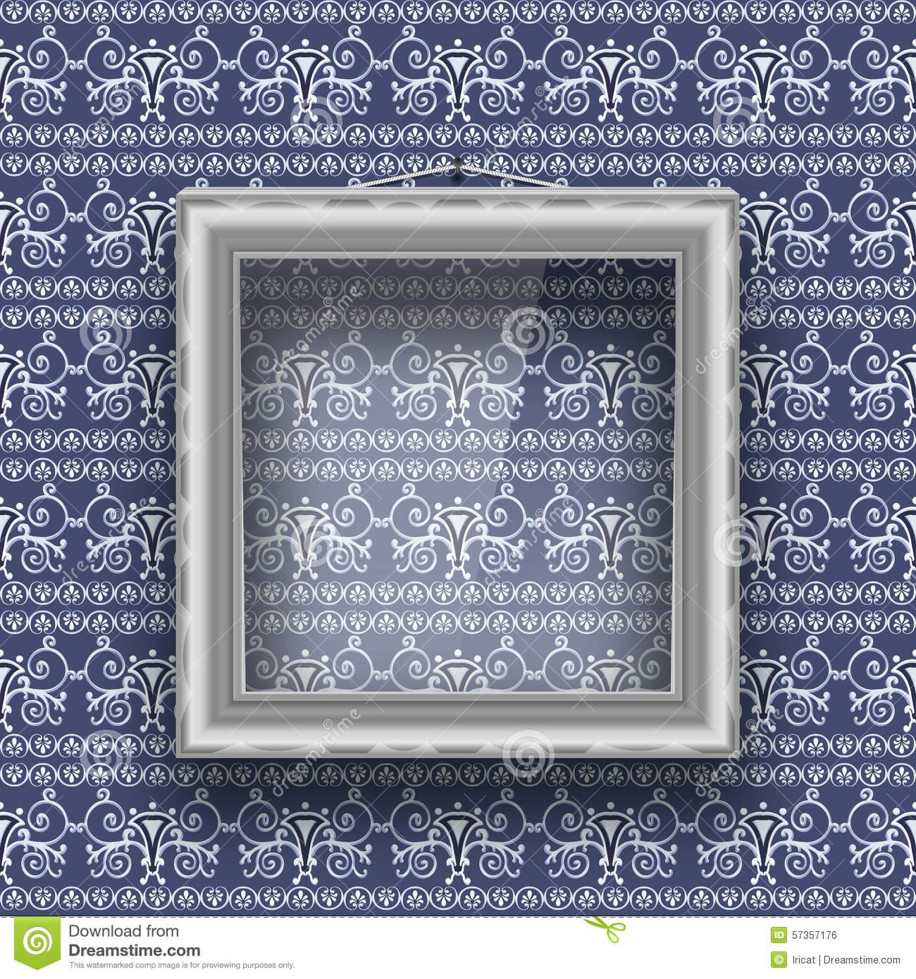 Empty Square Frame With Glass On The Wall With Patterned