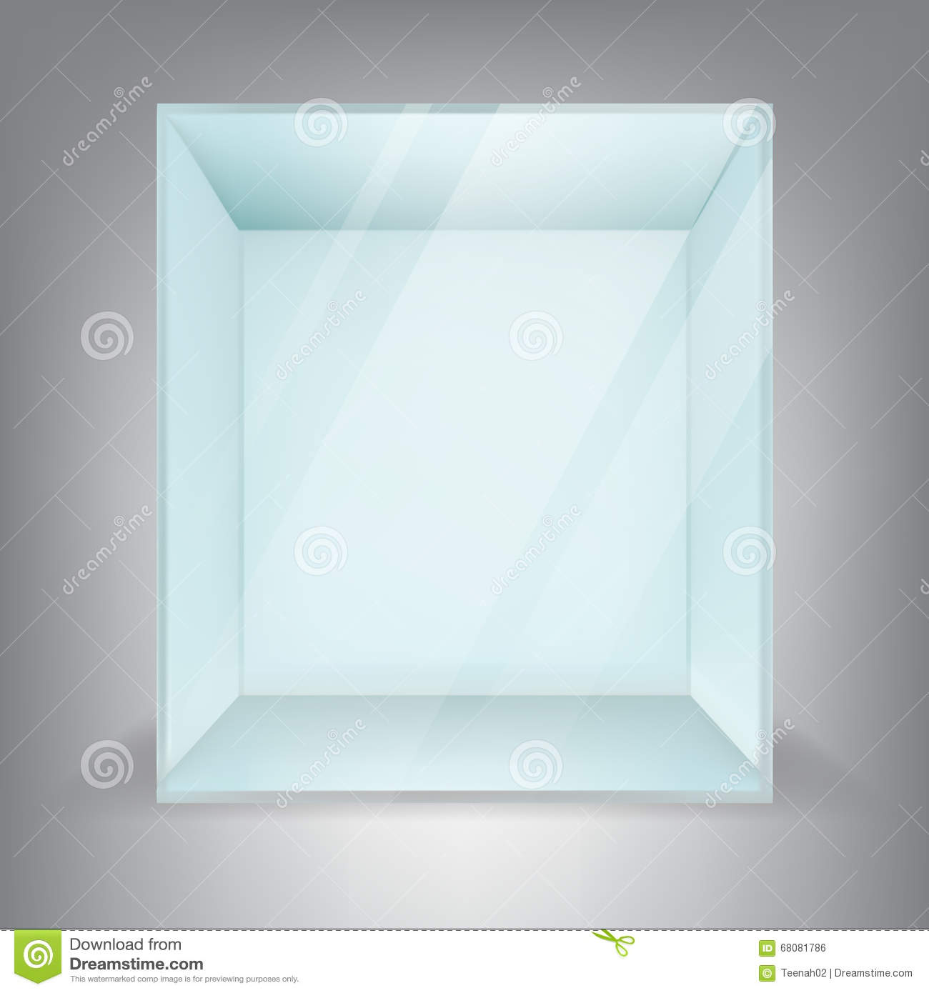 Exhibition Display Stand Design : Empty square glass box stock vector image
