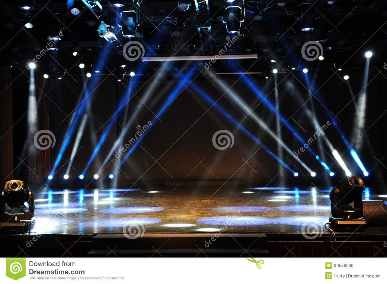 Empty Stage In Light Beam