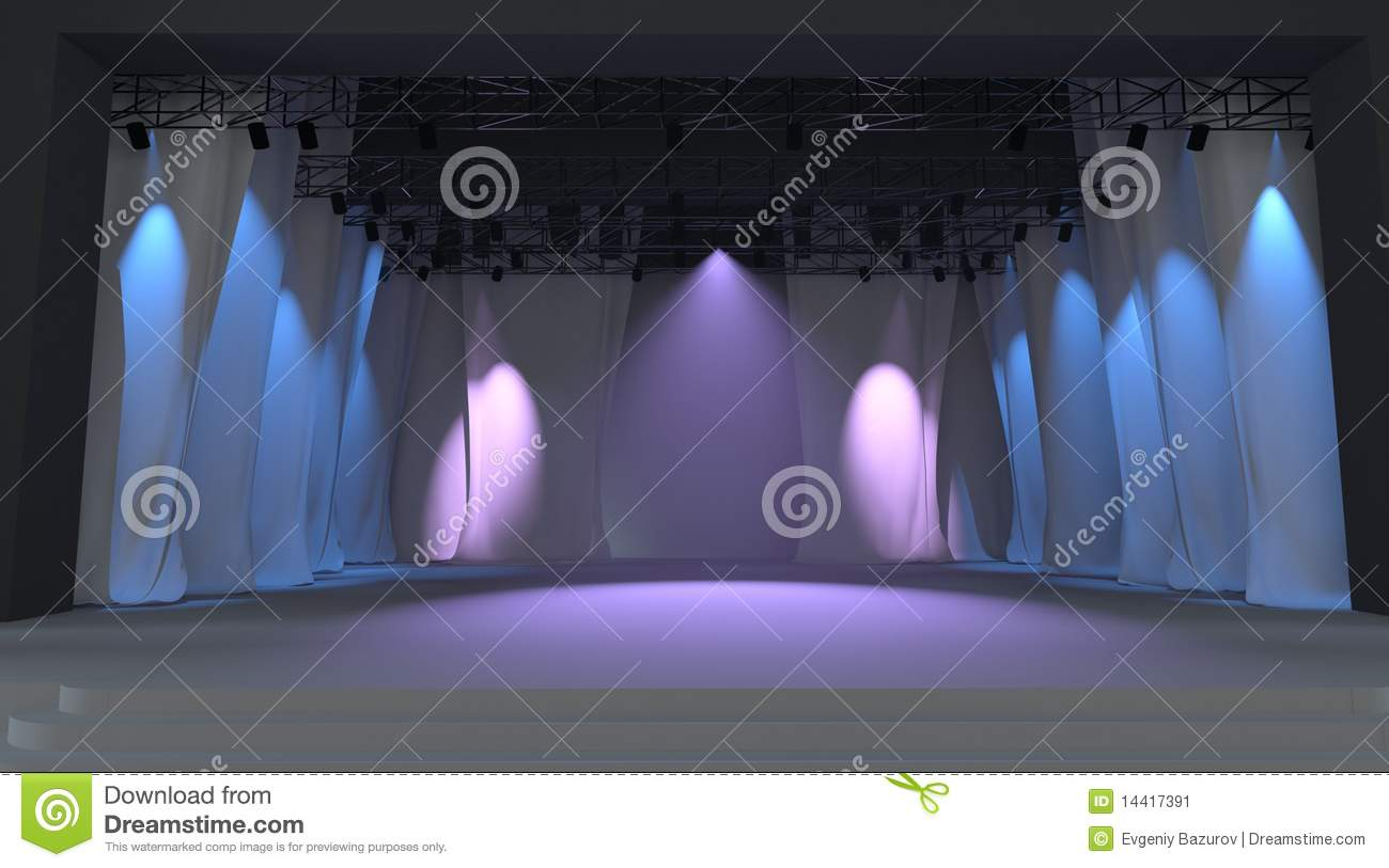 Download Empty Stage With Lights Stock Illustration Of White