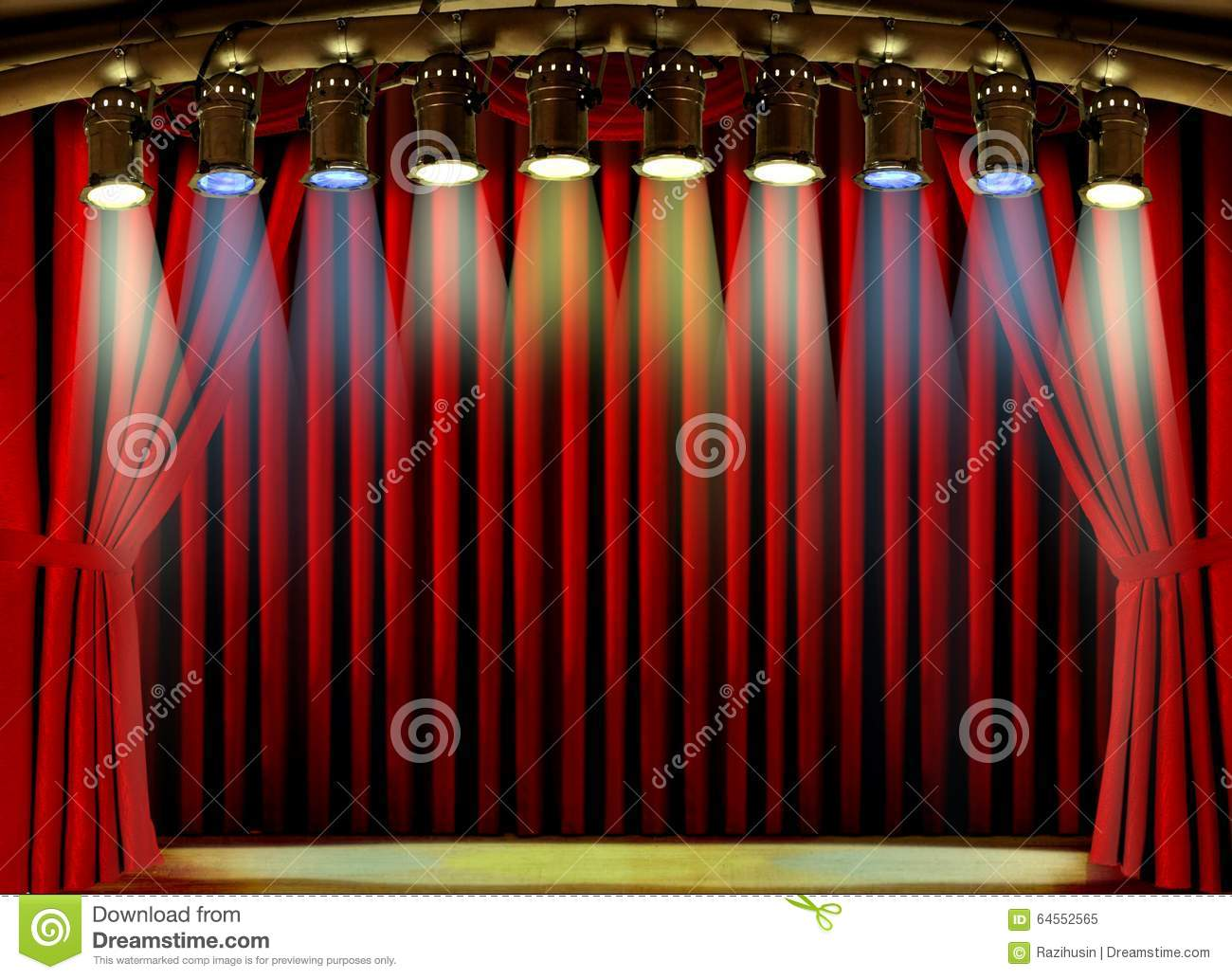 Red stage curtain with lights - Empty Stage With Red Curtain And Spot Lights