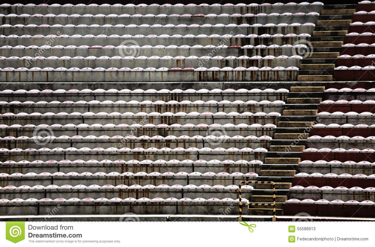Empty Stands And Bleachers Without People At Football