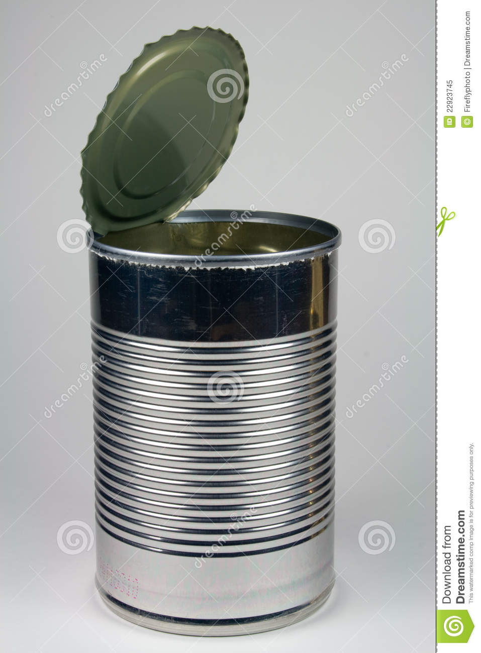 Empty Steel Soup Can - Opened Royalty Free Stock Photo