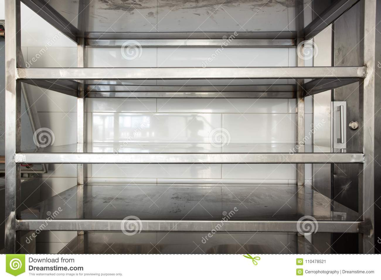 Empty Storage Stainless Steel In A Kitchen Restaurant Or Hotel Stock Image Image Of Hygiene Extraction 110478521