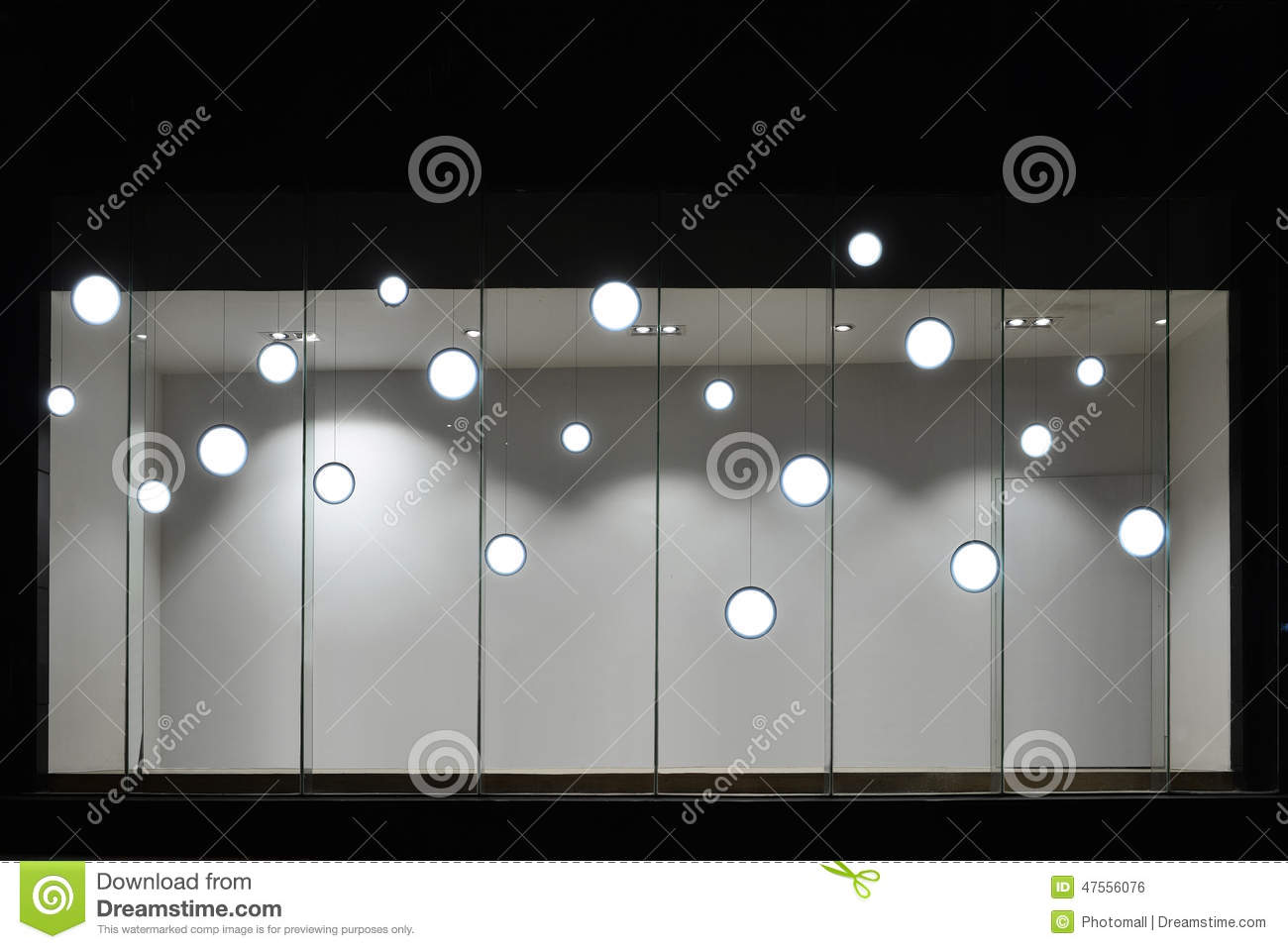 Empty store display window with led light bulbs led lamp used in shop window commercial The light bulb store
