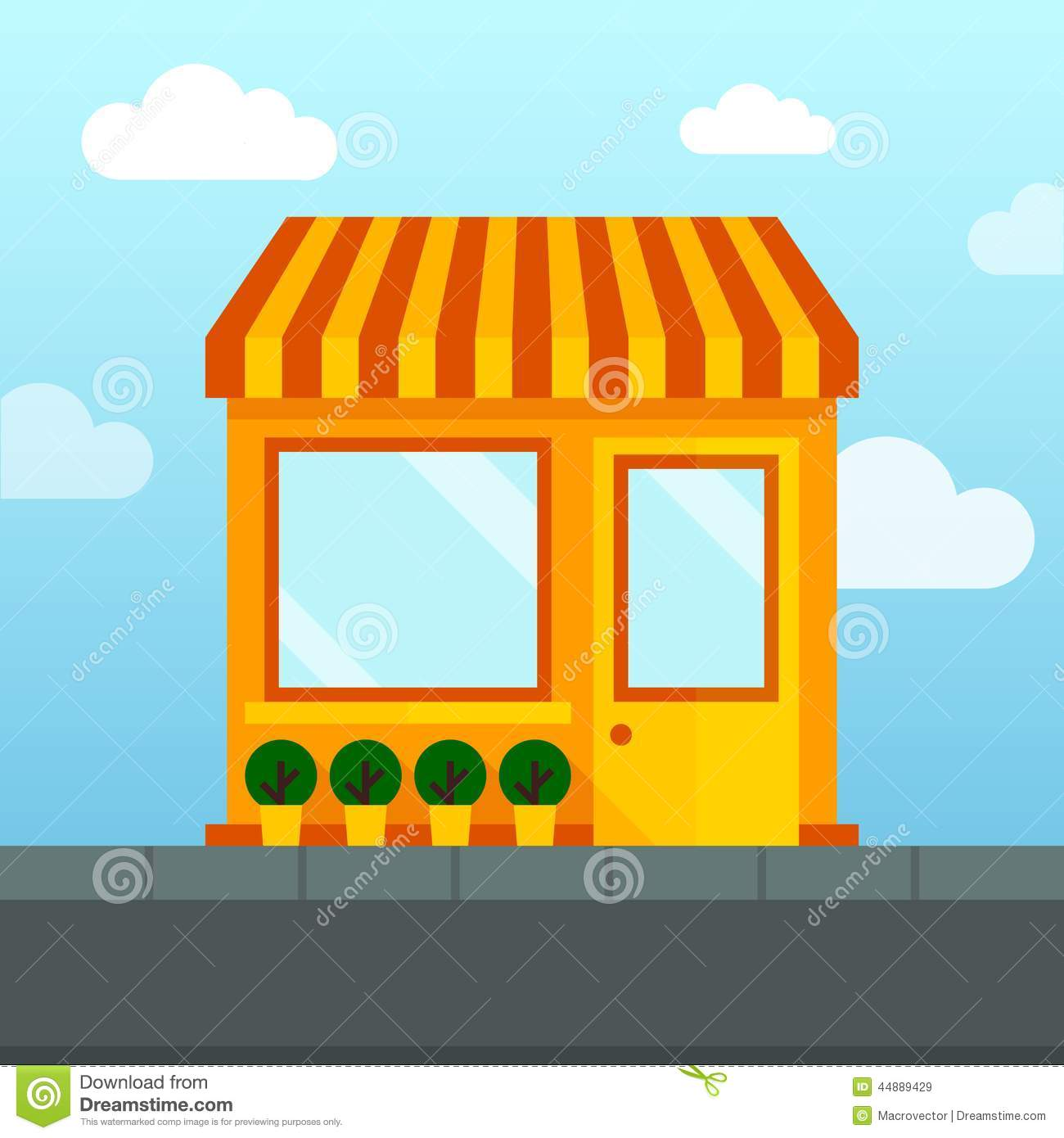 Empty Store Front Stock Vector Image 44889429