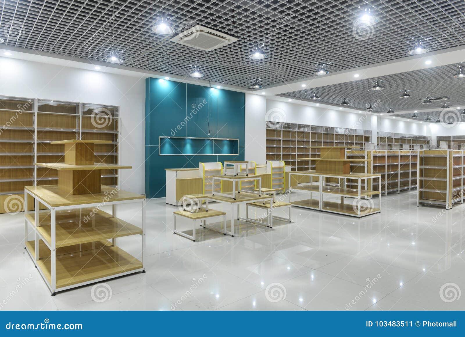 Empty store interior of supermarket