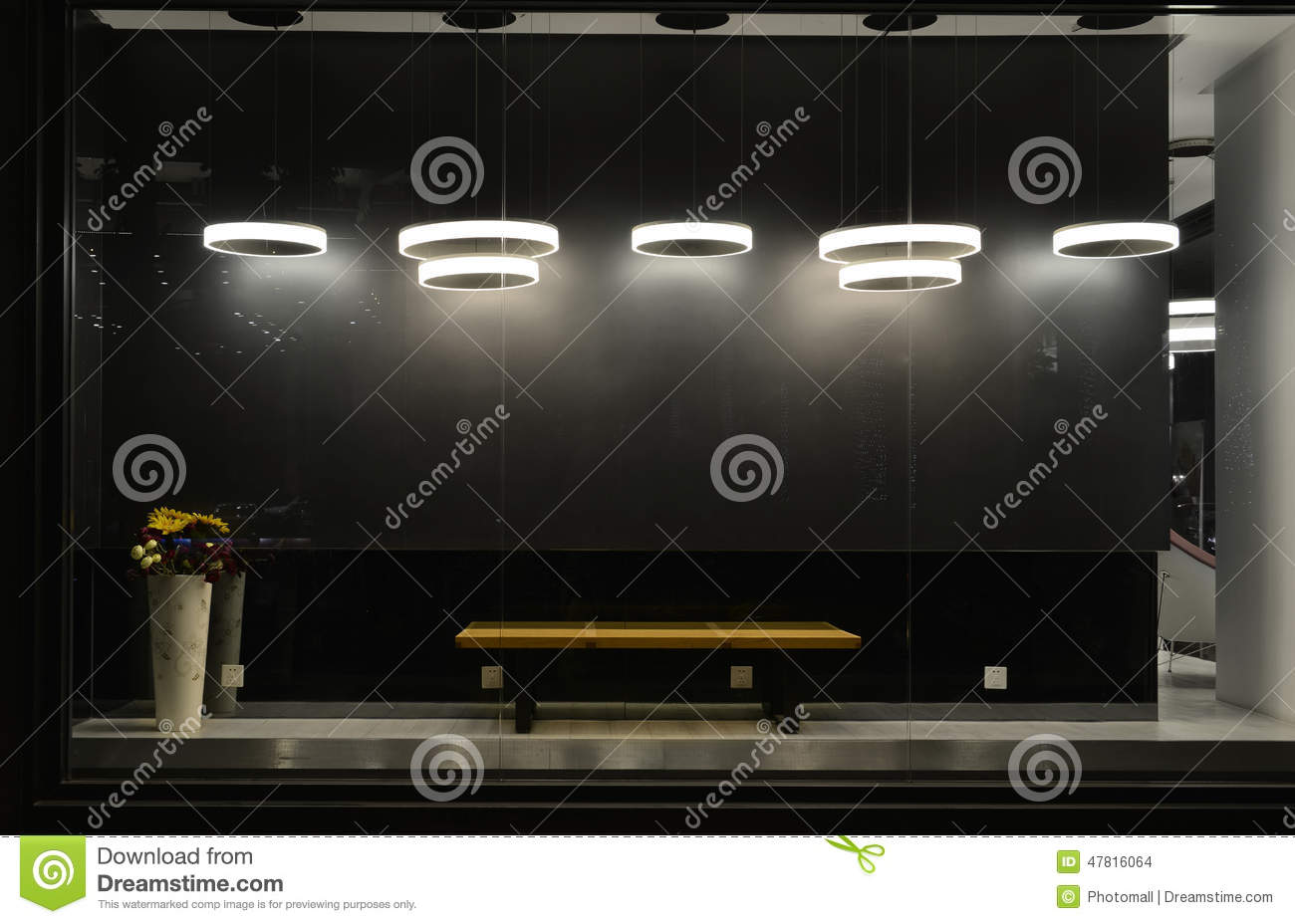 Empty store window with led light bulbs led lamp used in shop window commercial decoration black The light bulb store