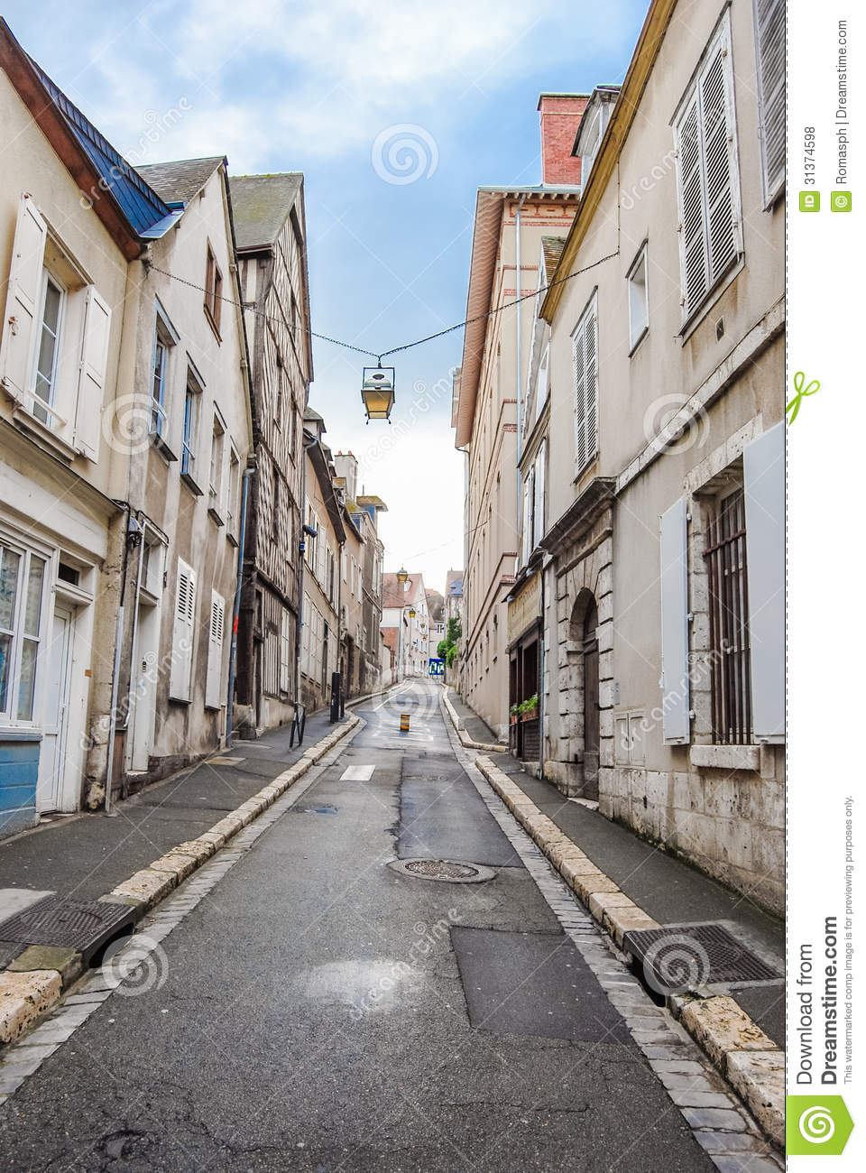 Empty Street In Old Town Royalty Free Stock Photos Image