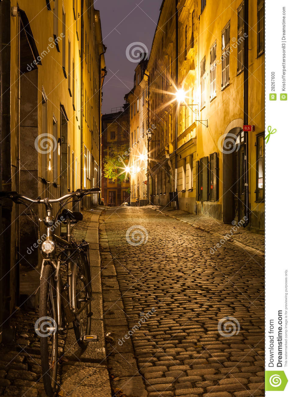 Empty Street In Stockholm Old Town At Night Stock Photo Image Of Narrow Victorian 28267600