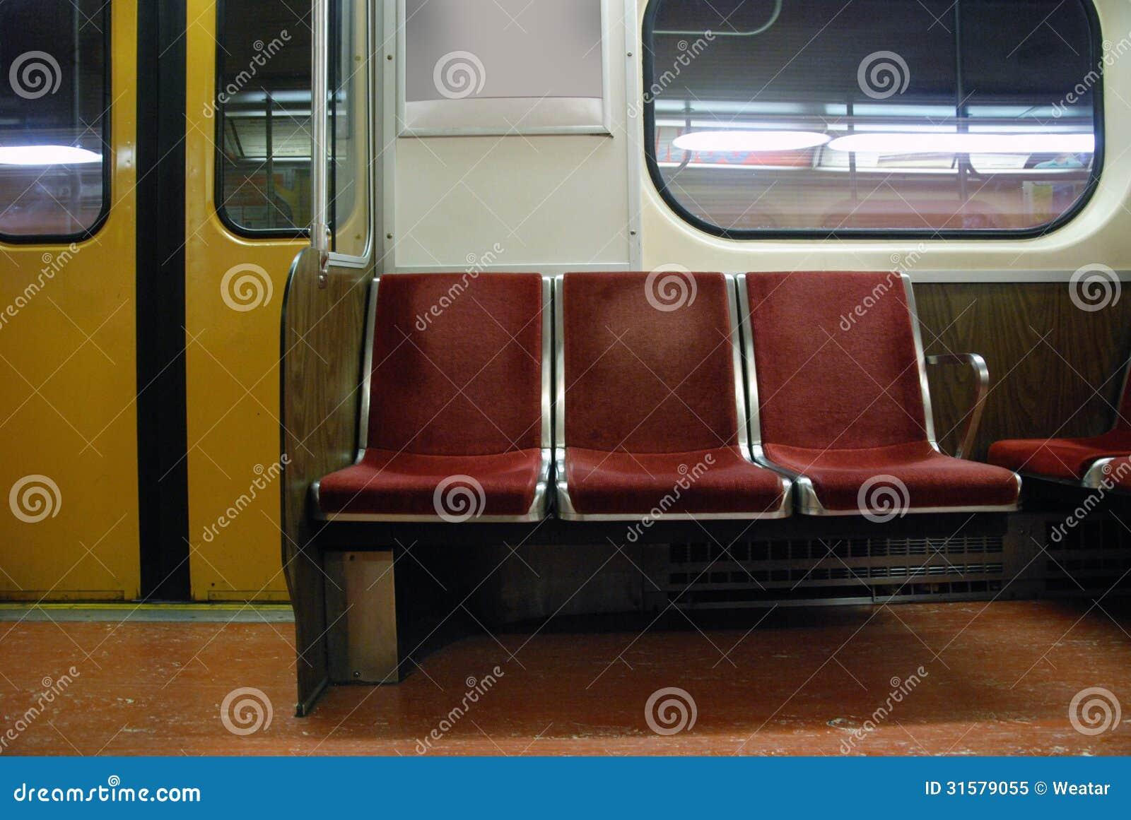 empty subway seats royalty free stock photo image 31579055. Black Bedroom Furniture Sets. Home Design Ideas