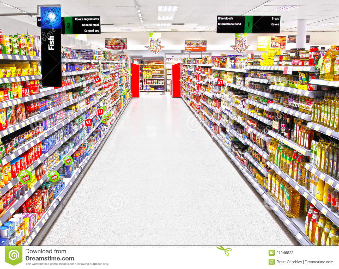 Supermarket aisle editorial stock photo image of empty for Shopping cuisine
