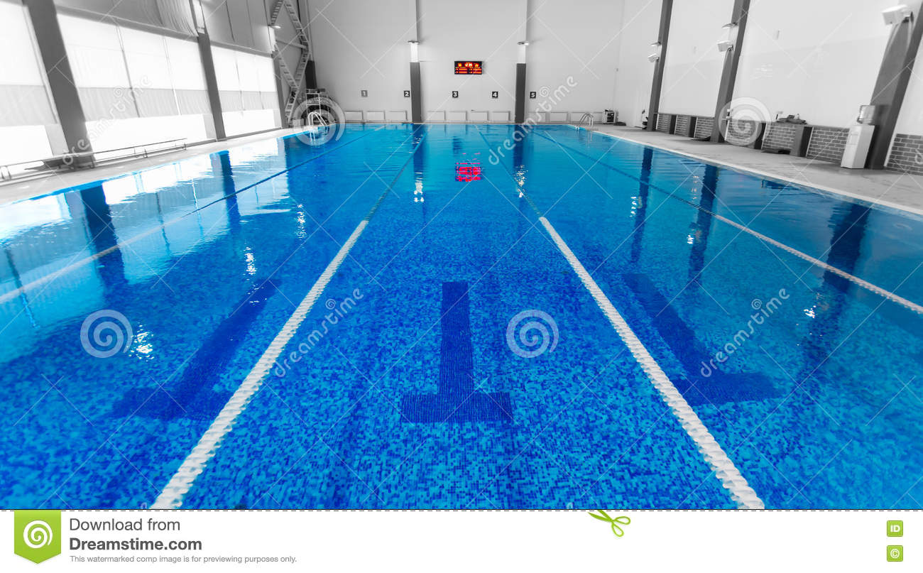 Empty Swimming Pool With Clean Blue Water Stock Image ...